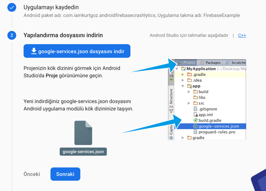 Android Firebase Crashlytics Kurulumu